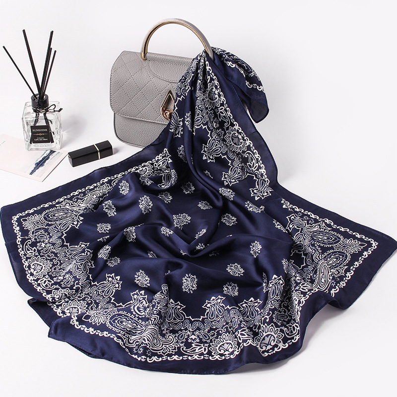Fashion Silk Satin Hair Scarf For Women Small Shawl Paisley Printed Bandana Head Bag Scarfs Female 70*70cm Kerchief Neck Scarves