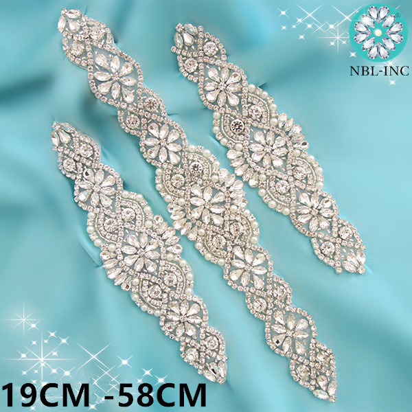 1PC Sash Belt Wedding-Dress Rhinestone Applique Silver-Crystals with for WDD0152-WDD0403