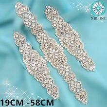 Cinturón de boda con diamantes de imitación, faja de aplicación para vestido de novia, Cristales de plata, 1 WDD0152-WDD0403