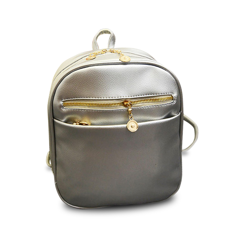 2020 New Women Backpack Casual Silver PU Leather Simple Backpacks School Bags For Teenage Girls Student Travel Bags