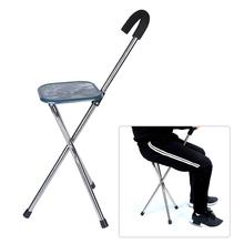 купить Outdoor Folding Cane Seat Casual Stainless Steel The Elderly Walking Stick Three-Foot Crutch Stool Portable Tripod Cane Walking дешево