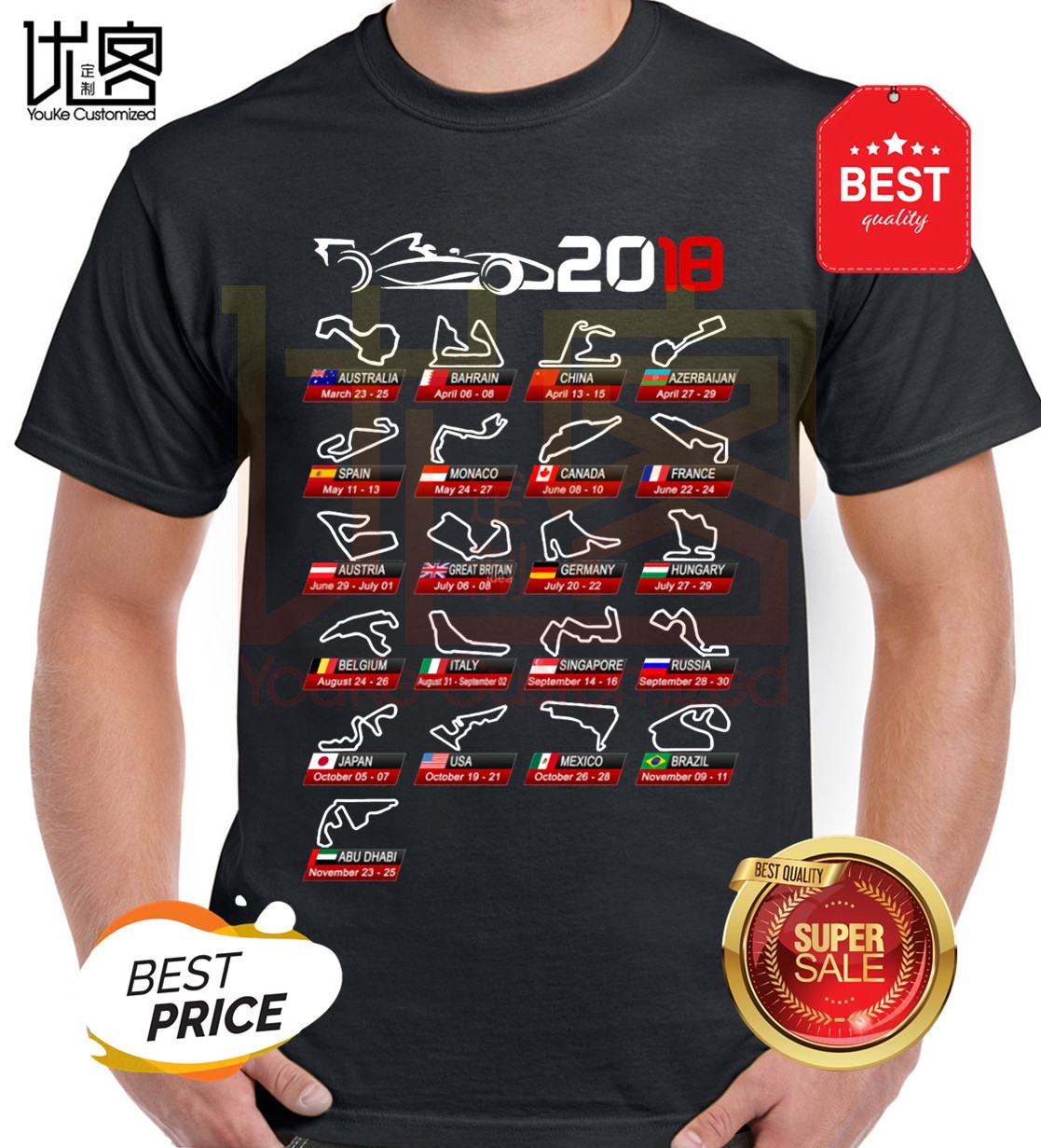 Calendar <font><b>F1</b></font> 2020 Sport Circuits Racing Car <font><b>T</b></font> <font><b>Shirt</b></font> Men Leisure Formula 1 Novelty Design <font><b>T</b></font>-<font><b>Shirt</b></font> image
