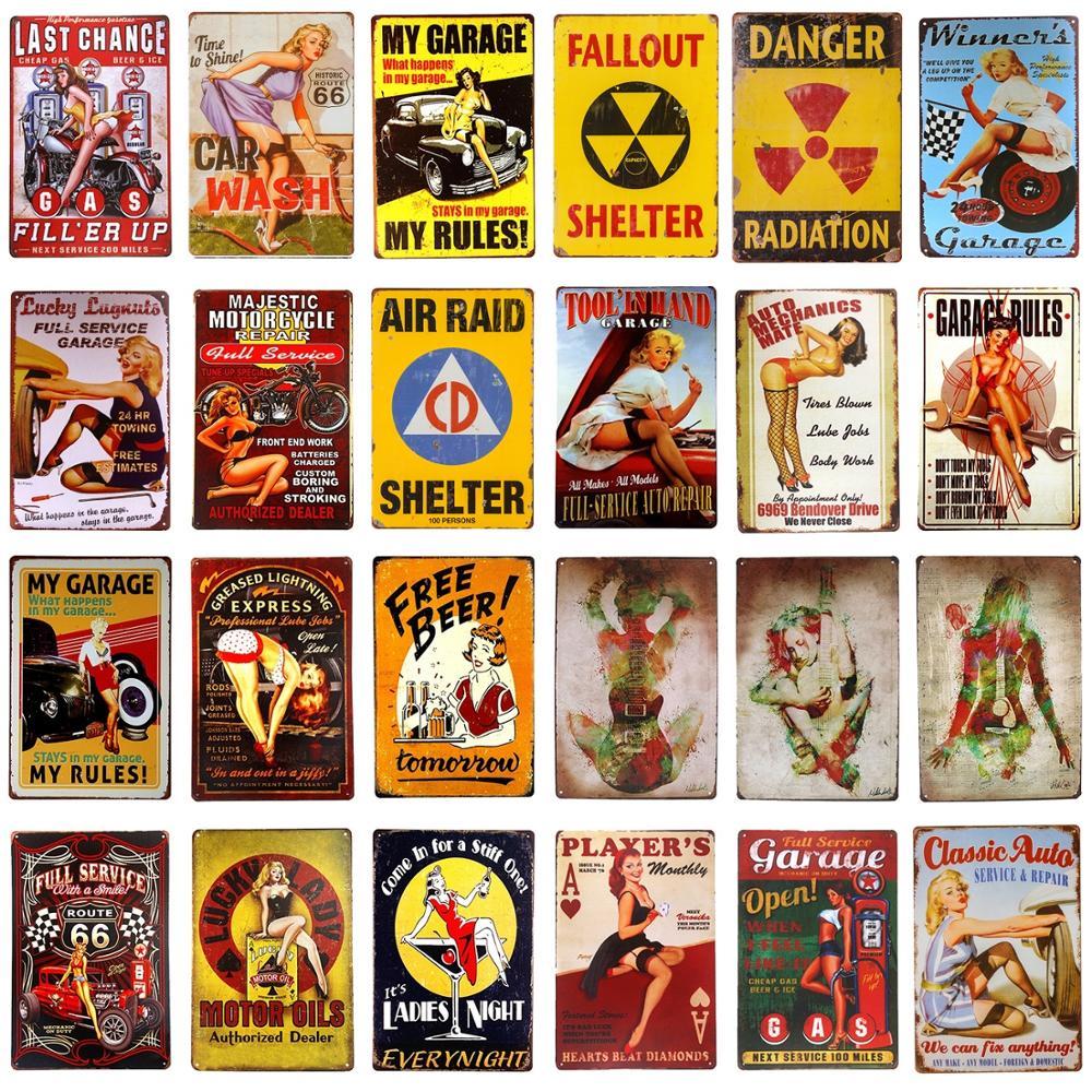 GUUTOP Vintage Ladies Metal Poster Pin Girl Painting Cartel de Chapa Placa de Metal Etiqueta de la Pared Tiki Bar House Room Club Decoraci/ón 20x30 cm