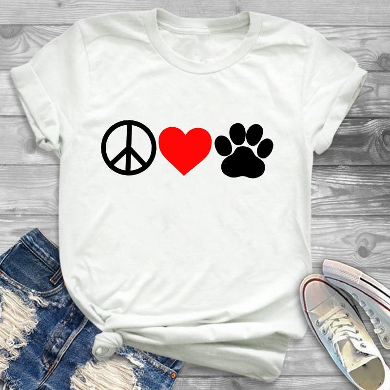 Fashion Women Dog Love Peace Heart  O-neck Clothing Cartoon Womens Female Graphic T Shirt T-Shirt Tee Shirt Tees T-shirts