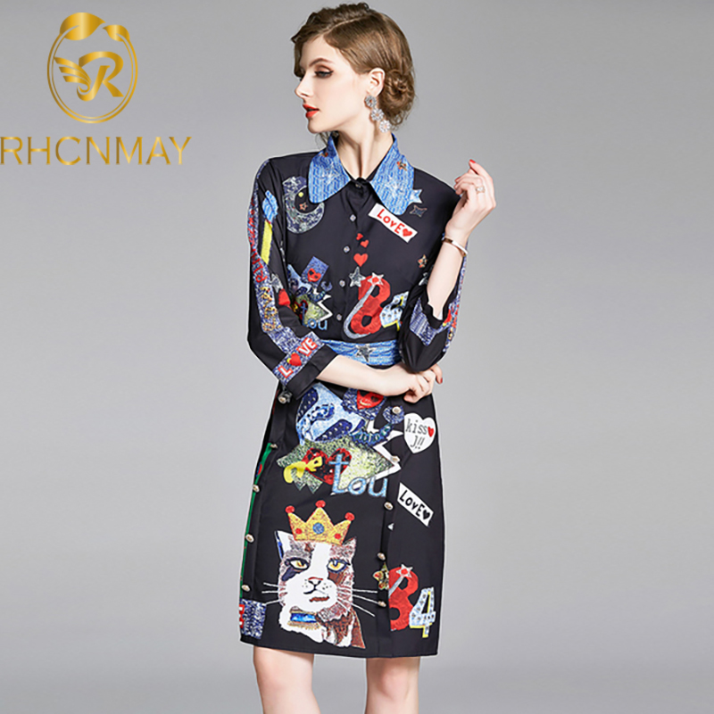New Summer Black Cat Letters Print Shirt Dress Women Long Sleeve Turn-down Collar Single-breasted Party Vintage Fashion Vestidos