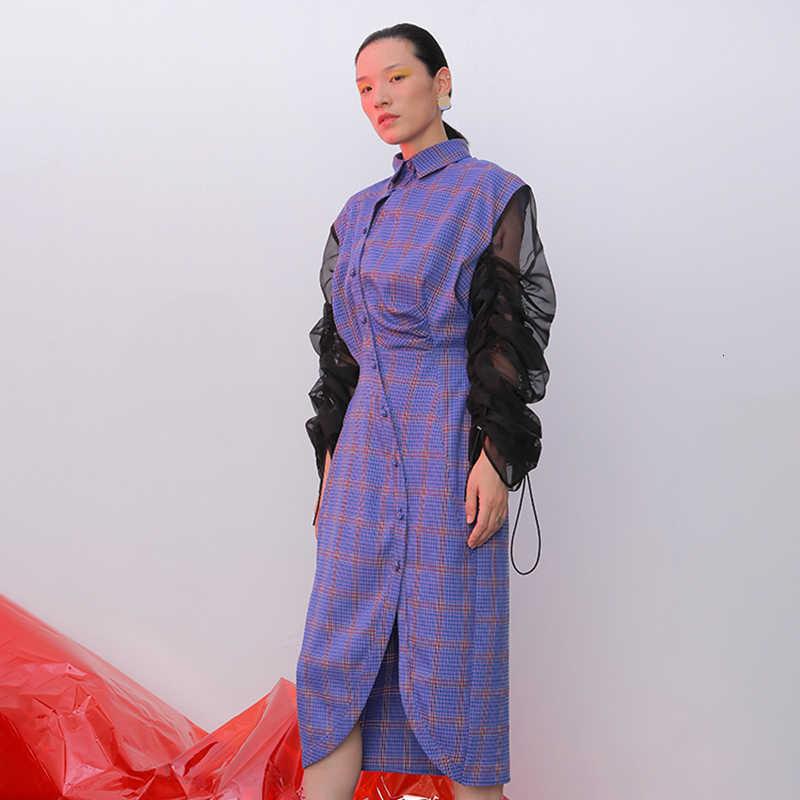 TWOTWINSTYLE платье на шнурке для женщин воротник с лацканами с пышными рукавами с высокой талией асимметричные платья женские 2019 осенние модные новые