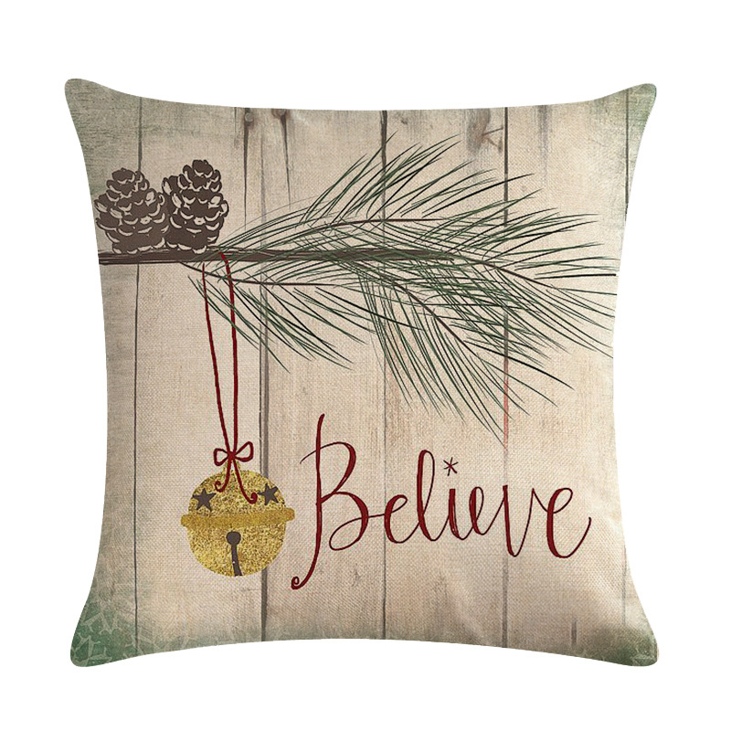 PAIR WINTER SPARKLY CHRISTMAS FOREST TREES REINDEER STAG CUSHION COVERS 30X50CM