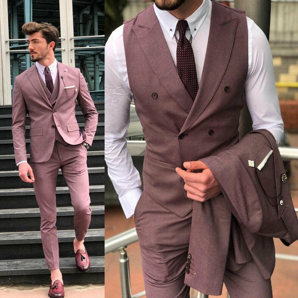 Plage hommes costumes deux boutons pointe revers marié porter mariage smoking formel bal Cocktail meilleur homme Blazer costume (veste + pantalon)