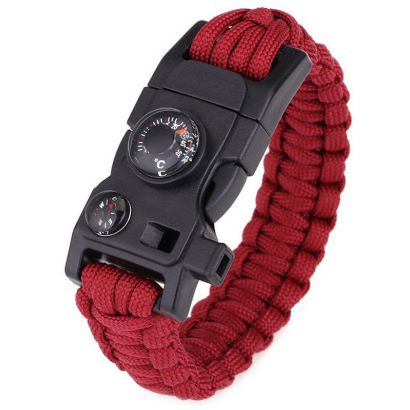 1pcs 15 In 1 Umbrella Rope Bracelet Outdoor Camping Multifunctional Fishing Gear Buckle Outdoor Camping Rescue Survival Bracelet