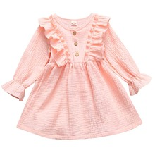 2020 Autumn Spring Linen Kid Girl Princess Childrent Cotton Toddler Dress Breathable Clothes Dresses Baby Solid Casual Soft