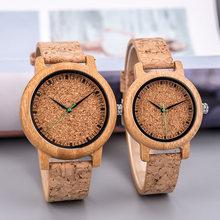 Часы наручные мужские/женские с бамбуковым циферблатом простые