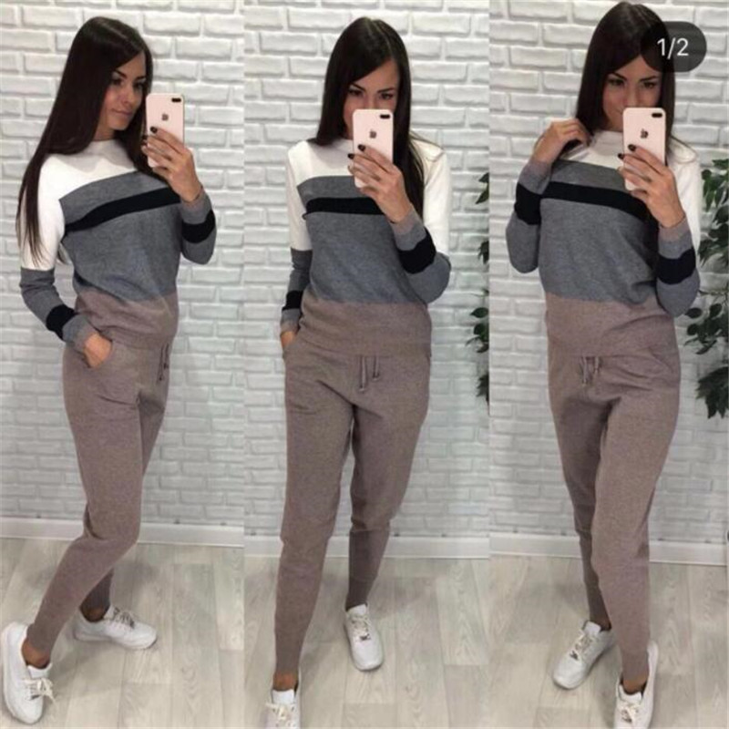 Women's New Two-piece Sets Knit Round Neck Sweater Tops + Lacing Pants Suit Color Strip Stitching Wool Suit Sportswear Free Size