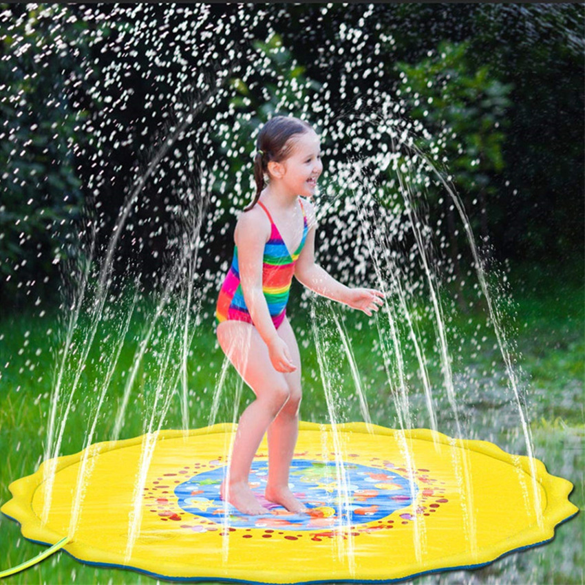 Rooxin Baby Kids Play Water Mat Water Spray Lawn Fountain Water Column Summer Beach Party Mat Cushion PVC Swimming Pool Toys