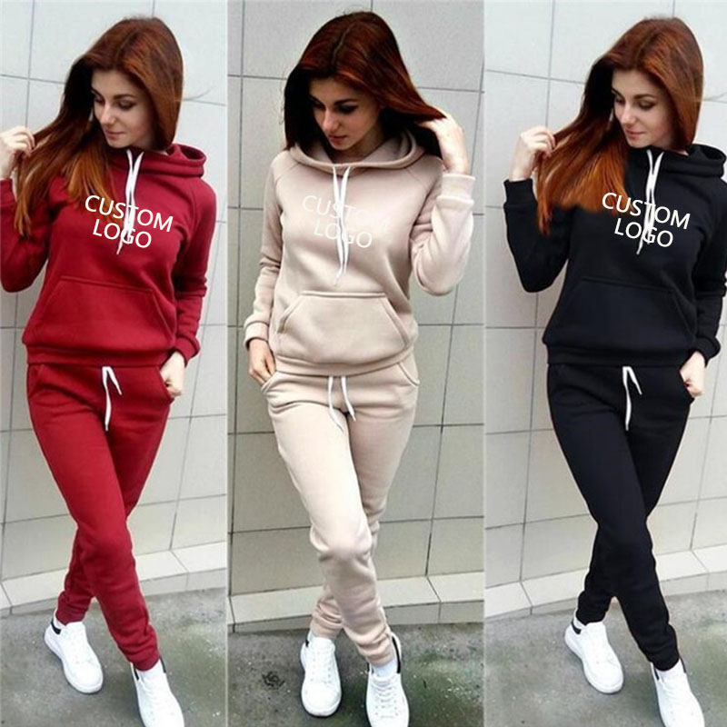 2019 Women Tracksuit Set Hoodies Pants Plus Size Sportswear Customized Your Logo Autumn Winter Two Piece Set