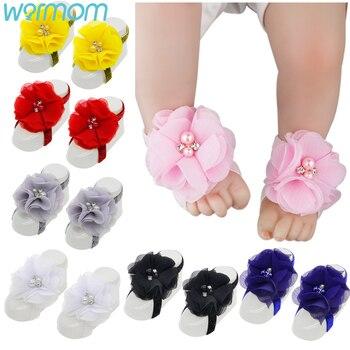 WARMOM recién nacido bebé pie flor bebé descalzo sandalias foto Props Estilo nórdico bebé flor zapatos encaje cinta pie Decoración