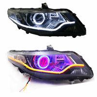 For Honda City 2009 2010 2011 2012 Auto Headlight Assembly with Turn Signal +Angle Demon Halo LED Light Stripe