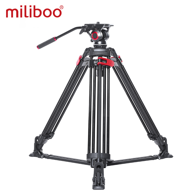 miliboo video tripod professional camera stand with ground spreader for dslr camcorder wedding photography travel quick shipping 1