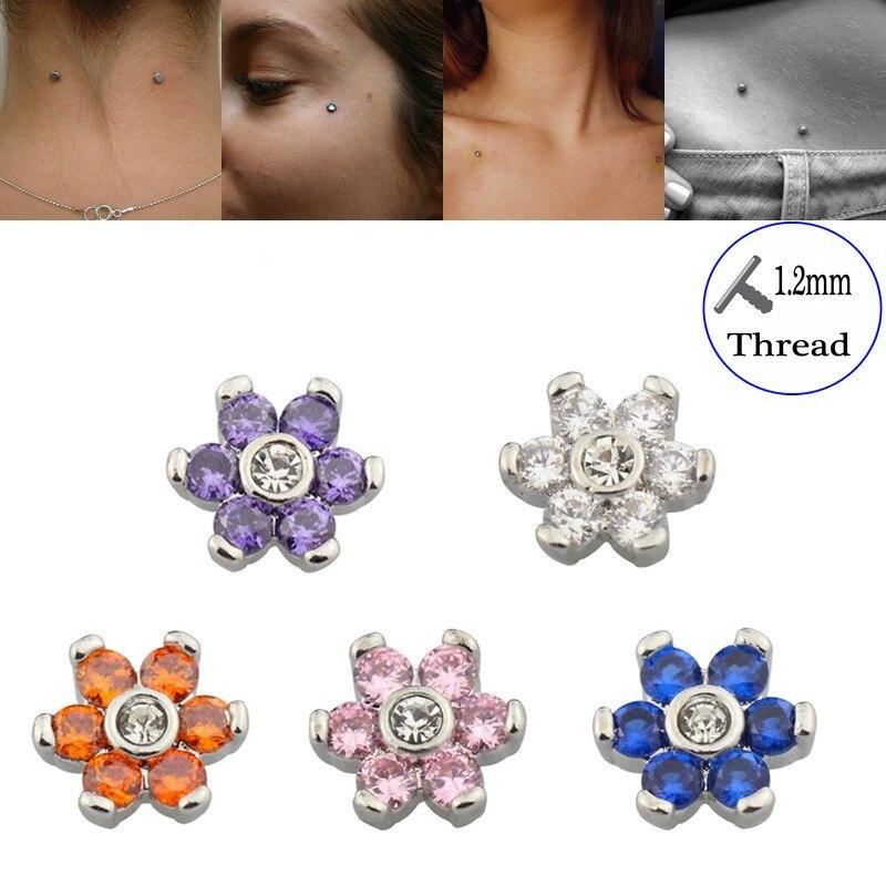 Cubic Zirconia Micro Dermal Piercings Flower Steel Dermal Anchor