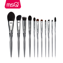 MSQ ensemble de pinceaux de maquillage professionnels, 11 pièces, brosse classique pour fard à paupières, fond de teint, poils de chèvre/cheval, manche en PVC