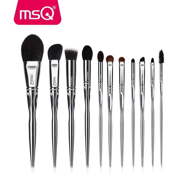 Msq プロフェッショナル 11 個パウダー化粧ブラシセット古典的なリップスティックファンデーションメイクアップブラシヤギ/馬の毛 pvc ハンドル