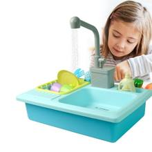 1Set Plastic Simulation Electric Dishwasher Sink Pretend Play Kitchen Toys Children Puzzle Early Education Toy Birthday Gift(China)