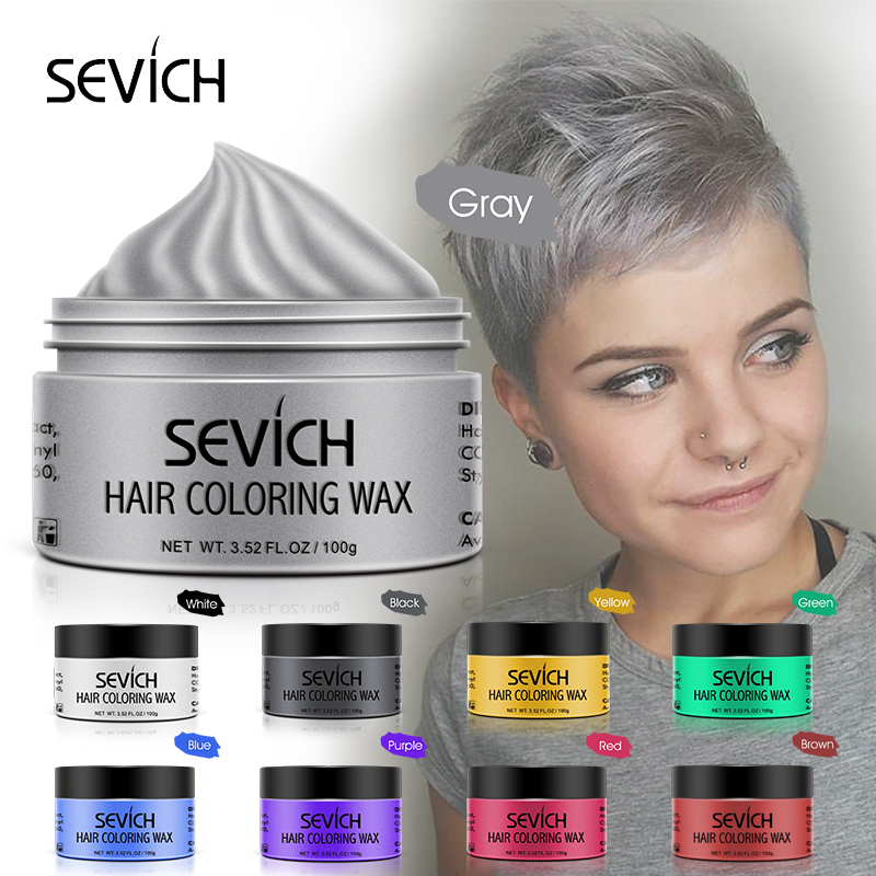 Sevich 9 Color Hair Color Wax For Men And Women One-time Temporary Hair Color Cream Gel 100g Grandma Grey Color Hair Styling