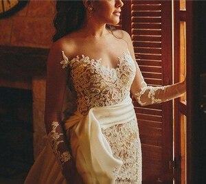 Image 3 - Smileven Wedding Dress Cap Sleeves White Ivory Bride Dresses Train Elegant Wedding Bridal Gowns 2019