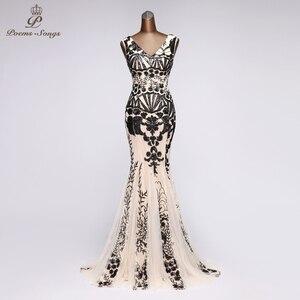 Image 5 - PoemsSongs V neck Mermaid Evening Dress prom gowns Formal Party dress vestido de festa Backless Elegant Sequin robe longue