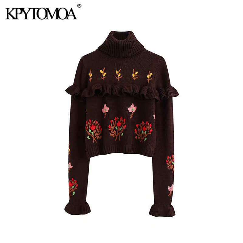 Vintage Sweet Ruffled Embroidered Cropped Knitted Sweater Women 2020 Fashion High Collar Long Sleeve Female Pullovers Chic Tops