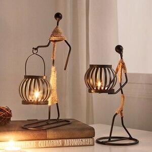 Image 1 - Candelabros decorativos de centro de mesa de Metal para velas, centros de mesa, candelero para jardín, centro de mesa de boda, decoración artística