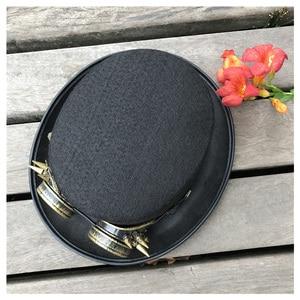 Image 5 - 2019 moda masculina feminina artesanal steampunk chapéu com óculos de engrenagem chapéu mágico desempenho bowler chapéu tamanho 57 cm steampunk chapéu
