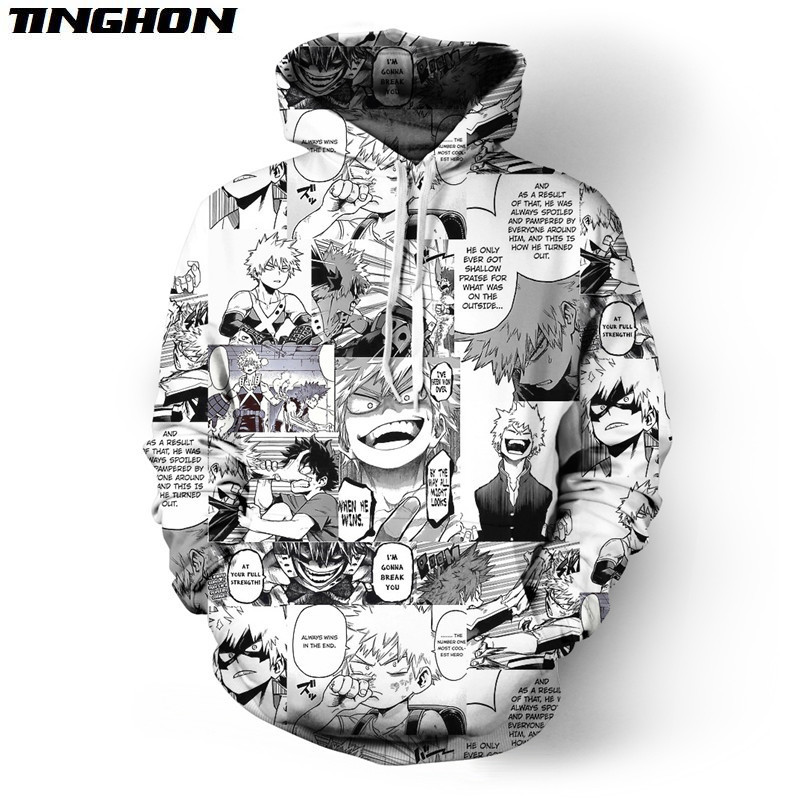Funny Cool Hip Hop Streetwear Unisex Black White Pullovers Angry Bakugou Katsuki Collage Tops Hooides Plus Size XS 6XL 7XL