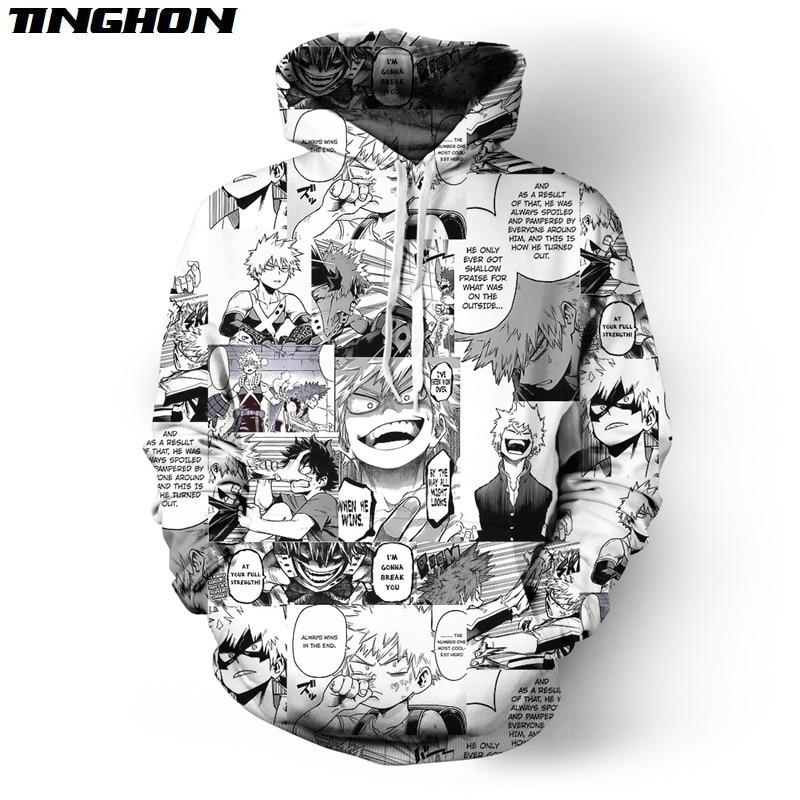 Funny Cool Hip Hop Streetwear Unisex Black White Pullovers Angry Bakugou Katsuki Collage Tops Hooides Plus Size XS 6XL 7XL