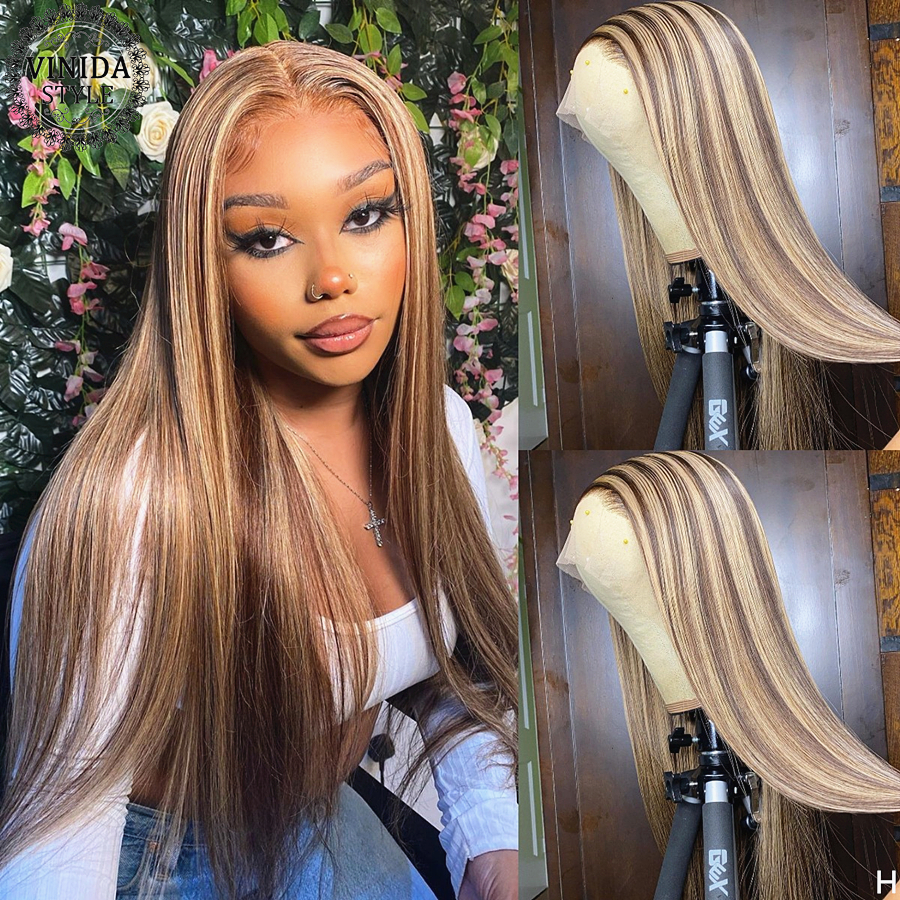 VINIDA STYLE Highlight Straight 150Density Lace Front Human Hair Wigs Scalp Top Closure Wigs With Baby Hair Non-Remy