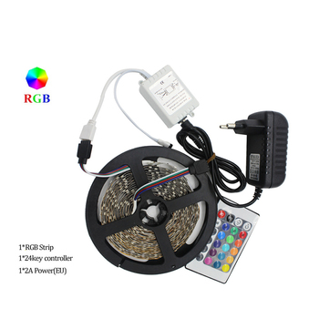 RGB LED Strip 5M 300Led 3528 SMD 24Key IR Remote Controller 12V 2A Power Adapter Flexible Light Led Tape Home Decoration Lamps f image