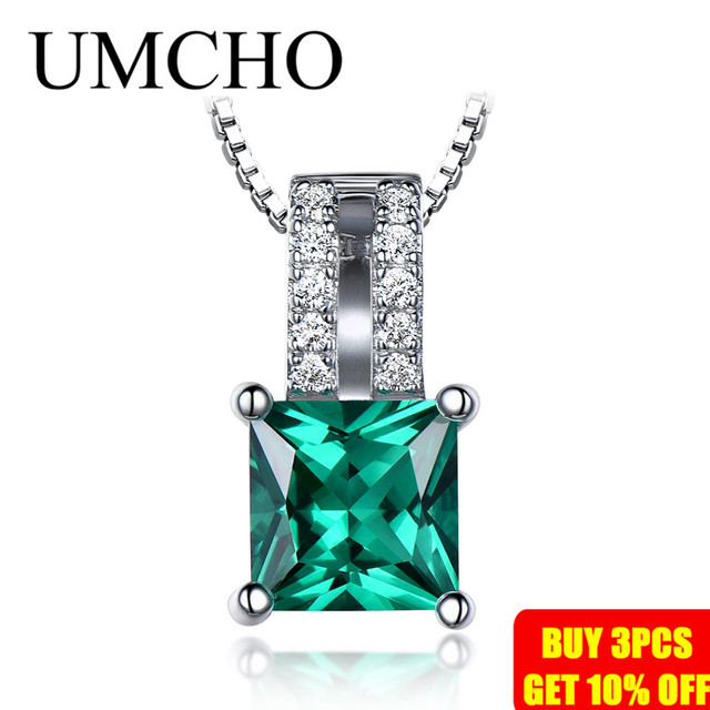 UMCHO Pure 925 Sterling Silver Pendants For Women Green Princess-cut Emerald Charm Wedding Pendant Fine Jewelry Without Chain 1
