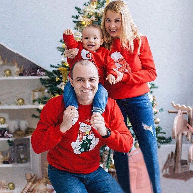 Christmas Family Matching Outfits T Shirt Sweatshirt Adult Kid Bear Cute Cartoon Hoodies Pullover Xmas Long Sleeve Tops Clothing
