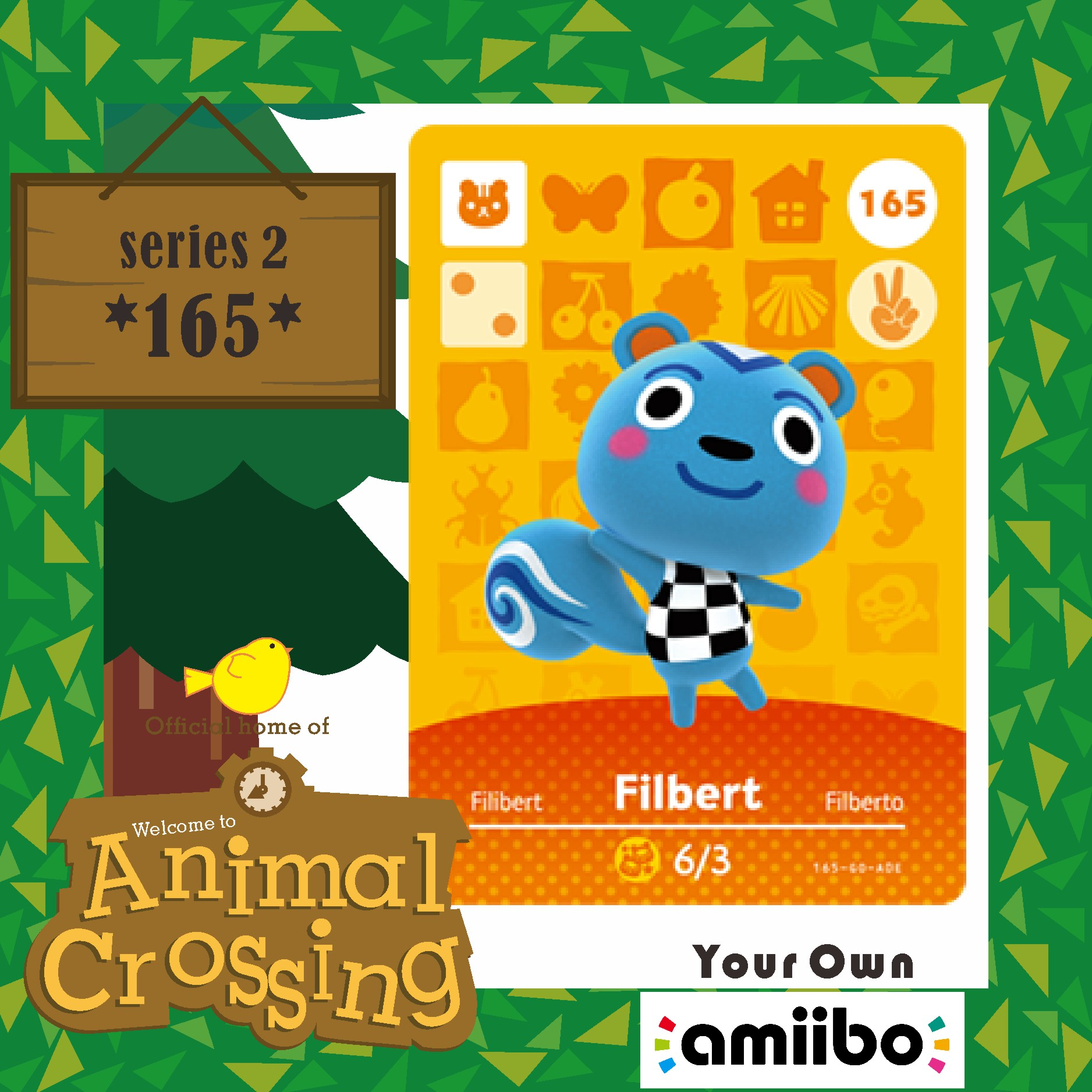 Animal Crossing Filbert Cross Card Amiibo Card Work for NS Games Amibo Switch Amiibo Cards Welcome New Horizons NFC Series 2 165 1