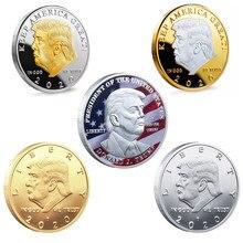 Donald j trump do presidente dos eua donald trump moeda comemorativa colecionáveis lembrança presente moedas de ouro de prata presentes do ano novo 2021