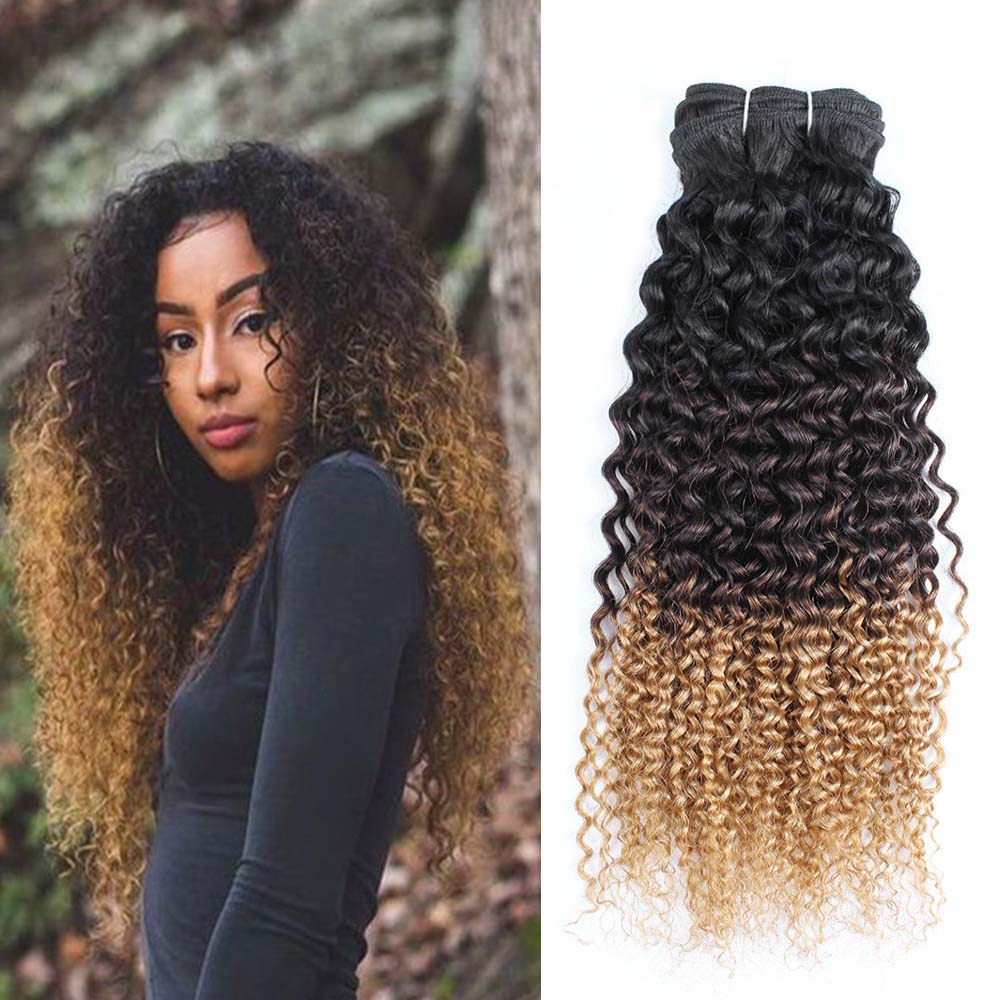 Bobbi Collection 1 piece Jerry Curly 1B 4 27 Dark Root Brown Honey Blonde Afro Style Ombre Remy Human Hair Weave Brazilian Hair