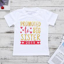 Fashion Summer Baby Girl T-Shirt Promoted To Big Sister Letter Print Crew Neck Short Sleeve T-Shirt Top White Clothing 3d flame bird print crew neck long sleeve t shirt