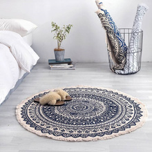 Boho carpet Round Carpet Bedroom  Tassel Cotton Rug Hand Woven National Classic Tapestry Sofa Cushion Tatami Floor Mats