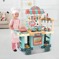 Role Play Kids Shopping Grocery Kitchen Toy Cart Play Set With Real Cooking Kitchen Pretend Play Simulation Kitchen Playset