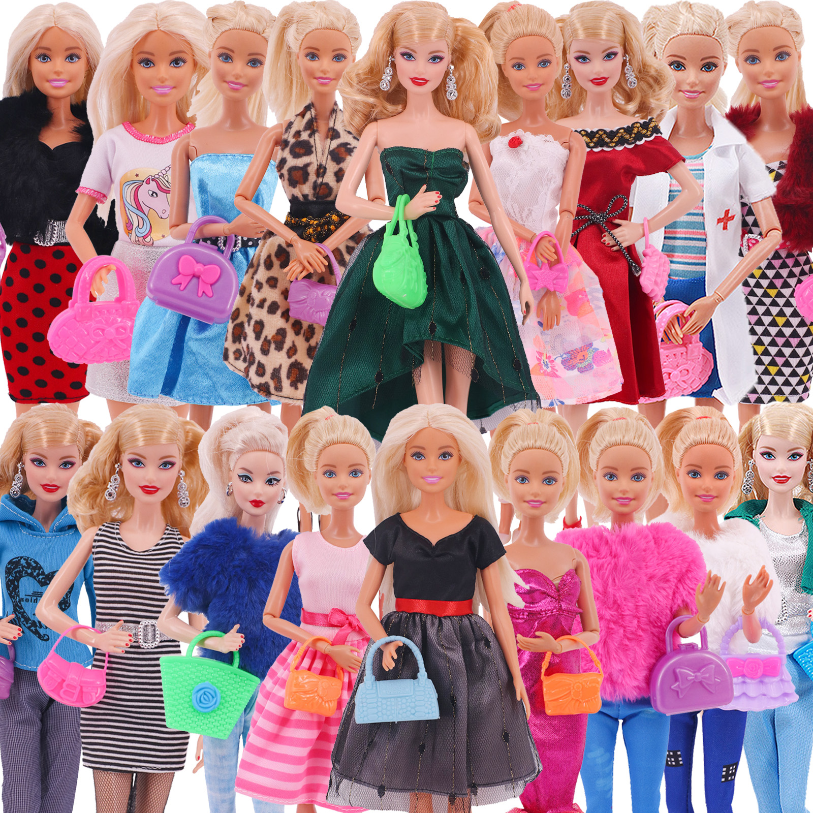 4Pcs Barbies Clothes=2*Doll Clothes+2*Bags Dsiney Elsa Dress freeshipping For Barbie Doll Accessories Outfit Girl`s Toy Russia