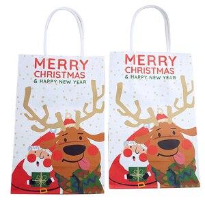 Image 1 - 6 sztuk/partia wesołych świąt bożego narodzenia torby papierowe z papieru pakowego Christmas Party nowy rok dekoracje świąteczne na prezenty z papieru Goodie torby do pakowania Dropship
