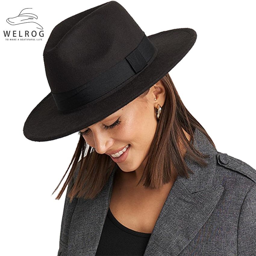WELROG Wide Brim Wool Fedoras Solid Color Burgundy Felt Hat Spring Hats Women Fashion Outdoor Hat Men Jazz Hats Bucket Caps