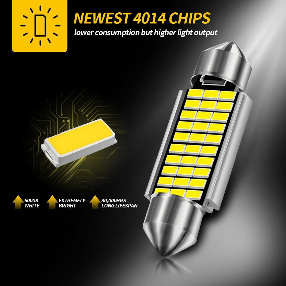 AILEO 1x C10W C5W LED Canbus Festoon 31mm 36mm 39mm 42mm for car Bulb Interior Reading Light License Plate Lamp White Free Error 2