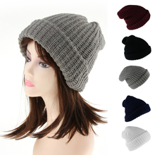 цены Men Women's Unisex Winter Warm Soft HIP HOP Chunky Knit Hats Solid Bonnet Ski Hat Baggy Slouchy Beanie Hat Skull Caps