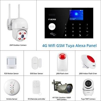 цена на 4G Tuya Alexa Wifi GSM alarm systems security home APP Touch keypad Smart Home Burglar Alarm  System ip Wifi camera