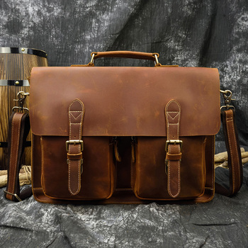 "Crazy Horse Leather Men's Laptop Briefcase 15.6"" Cow Leather Business Bags Brown Real Leather Work Tote Messenger Bag Male Bag"